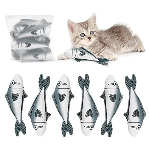 Toozey Katzenspielzeug Fisch mit Katzenminze, Katzenminze Fisch 6pcs...