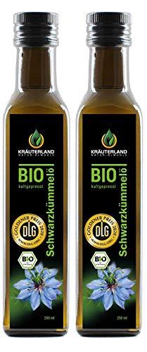 Kräuterland - Bio Schwarzkümmelöl gefiltert 2x250ml- 100% rein,...