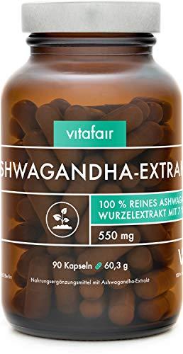 Ashwagandha Extrakt - 1650mg pro Tagesdosis - 90 Kapseln - 7%...