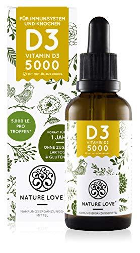 NATURE LOVE® Vitamin D3 5000 (50ml flüssig) - Laborgeprüfte 5000...