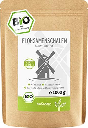 BIO Flohsamenschalen 99% Reinheit GANZ - 100% Bio - indische Flohsamen...