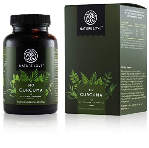 NATURE LOVE® Bio Curcuma - 240 Kapseln. 4540mg Kurkuma + schwarzer...