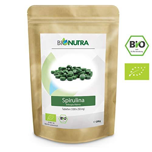 BioNutra Spirulina-Presslinge Bio 1000 x 250 mg Tabletten, 100% rein &...