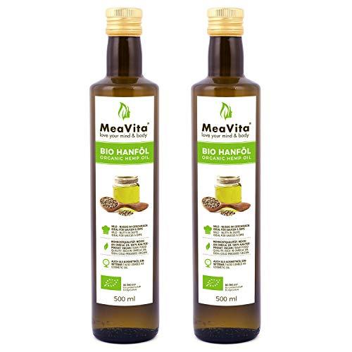 MeaVita Bio Hanföl, 100% rein & kaltgepresst, (2x 500ml) Hanfsamenöl...