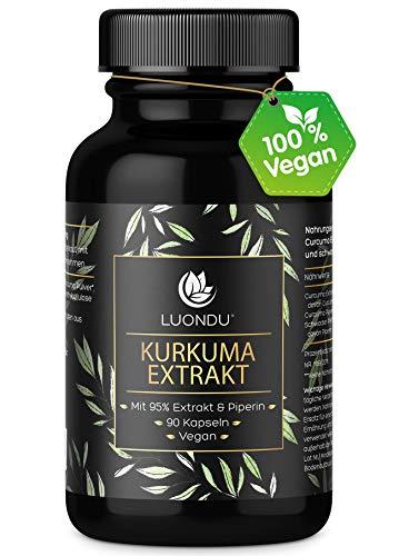 Kurkuma Kapseln - 90 Curcuma Extrakt Kapseln extra hochdosiert & Vegan...