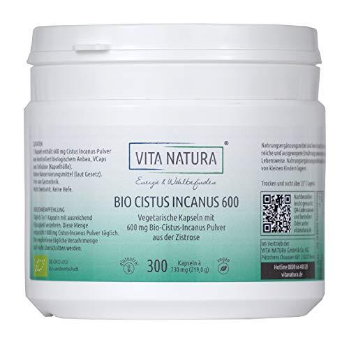 Vita Natura Cistus Incanus Bio 600 mg Vegikapseln, 1er Pack (1 x 300...