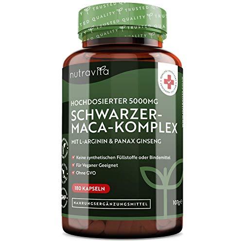 Schwarzer-Maca-Wurzel-Komplex 5000mg - 180 Vegan-Kapseln - Sehr...