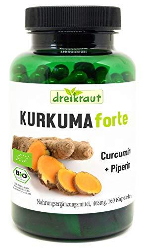 Kurkuma Forte Bio von dreikraut - Kurkuma + Curcumin 95% + Piperin,...