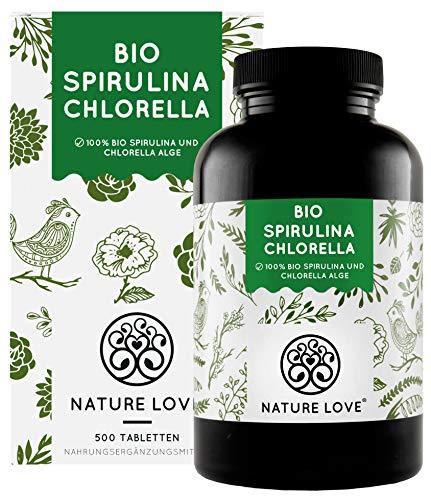 NATURE LOVE® Bio Spirulina + Bio Chlorella mit 500 mg pro Pressling....