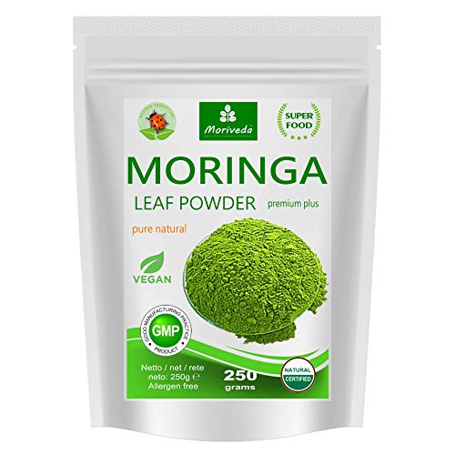 MoriVeda® Moringa Oleifera Blattpulver 250g, PREMIUM PLUS I Enthält...
