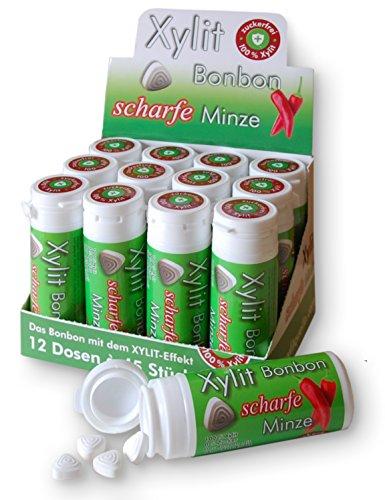 Xylit Birkenzucker Bonbon Scharfe Minze, 12 Röhrchen zu je 45 Bonbons...