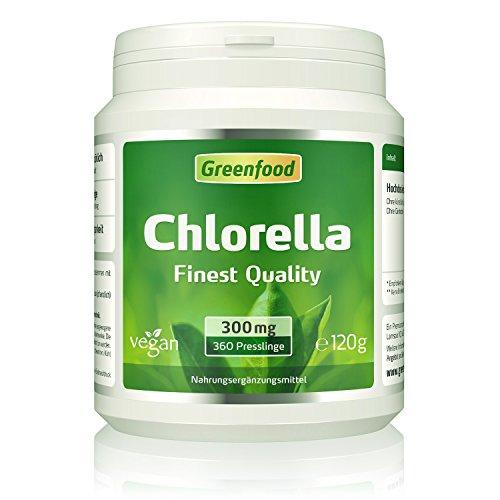 Greenfood Chlorella, 300 mg, 360 Presslinge – reich an Chlorophyll,...