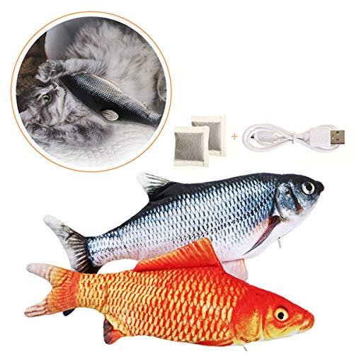 Charminer 2pcs Katzenspielzeug Fische, Elektrische Fische mit...