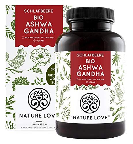 NATURE LOVE® Bio Ashwagandha - Hochdosiert mit 1950mg je Tagesdosis -...