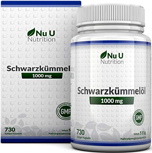 Schwarzkümmelöl Kapseln, 730 Kapseln, 1000 mg pro Portion,...