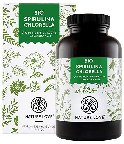 NATURE LOVE Bio Spirulina + Bio Chlorella mit 500 mg pro Pressling....