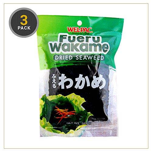 WEL-PAC Fueru Wakame Dried Seaweed 57 g (3 Pack)