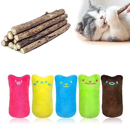 MOULLY 5 Stück Katzenminze-Spielzeug+10 Stück Katzenminze Sticks,...