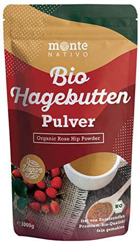 Bio Hagebuttenpulver 1kg (1000g) Monte Nativo - Vegan und Frei von...