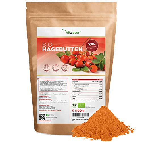 Bio Hagebuttenpulver - 1100 g (1,1 kg) - Ganze Hagebutten gemahlen -...