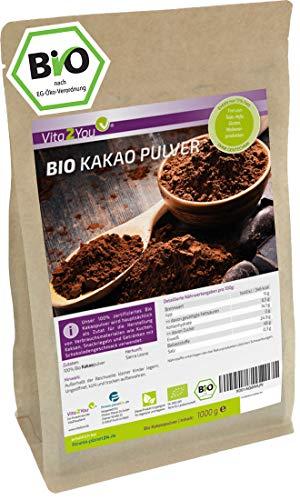 Kakao Pulver Bio 1000g - ungesüßt - ganze Kakao Bohnen gemahlen aus...