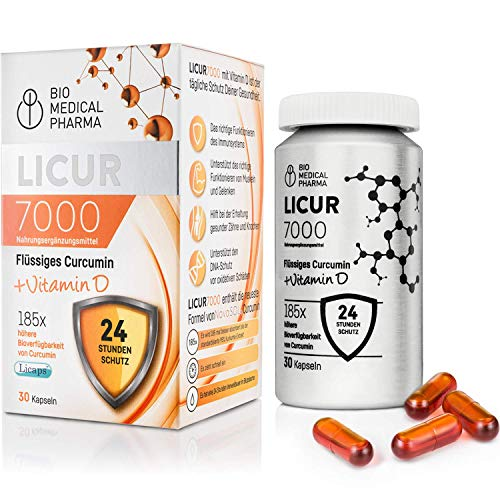 Kurkuma Kapseln hochdosiert mit Vitamin D3 | Mizellen Curcumin, 185x...