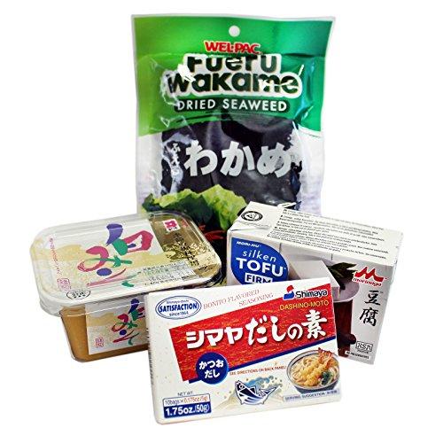 Starterset für Misosuppe (Misopaste, Tofu, Dashipulver, Wakame Algen)