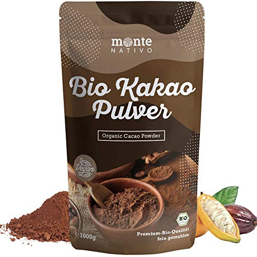 Bio Kakao Pulver 1 kg (1000g) Monte Nativo – Premium Rohkakaopulver...