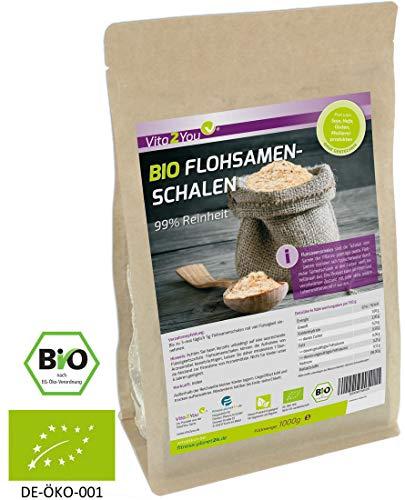 BIO Flohsamenschalen 99% Reinheit 1000g - Zippbeutel - 100% Bio Anbau...