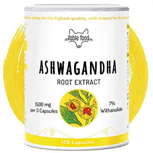 fable food Ashwagandha Kapseln hochdosiert | 500mg Wurzel-Extrakt 6:1...