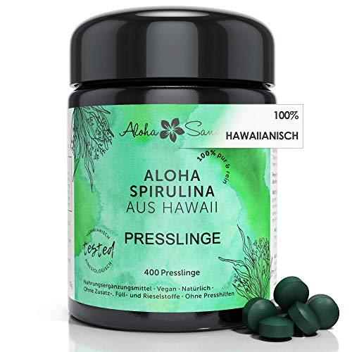 Aloha Sana® | Hawaii Spirulina Presslinge im Ultraviolettglas | 400...