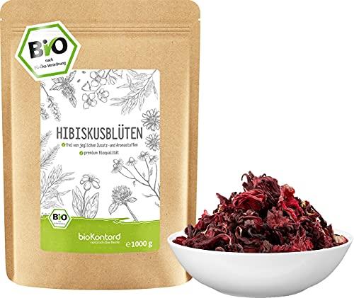 Hibiskusblüten BIO ganz und getrocknet 1000 g - Premium HIbiskus Tee...