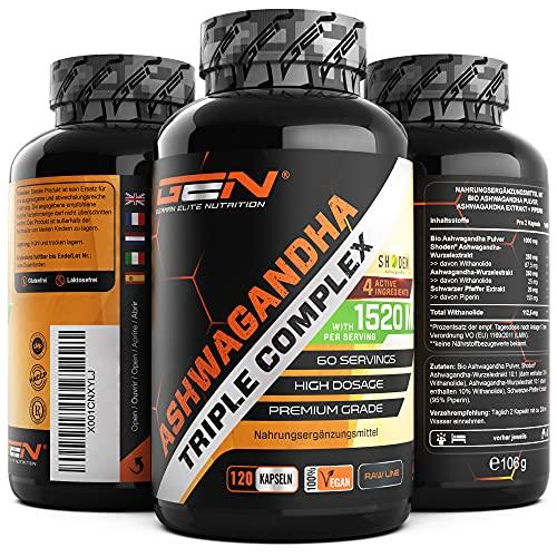 Ashwagandha Triple Extrakt Komplex - Premium: Ultra hochdosiert mit...