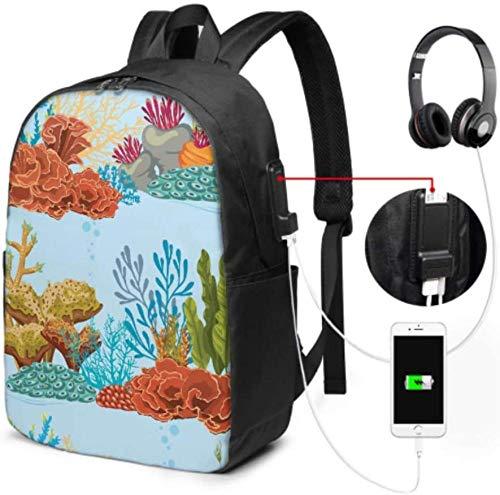 Schultasche Arbeit Bookbag Dancing Kelp Und Algen Rucksack Für Laptop...
