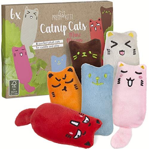 6x Minz Miezen: Premium Katzenspielzeug Set aus Katzenkissen mit...
