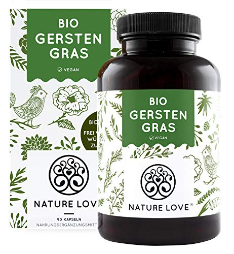 NATURE LOVE® Bio Gerstengras - Hochdosiert mit 1500mg je Tagesdosis -...