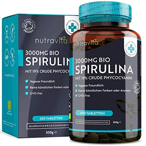 Bio-Spirulina Presslinge - 600 Tabletten - 500mg pro Tablette - 3000mg...