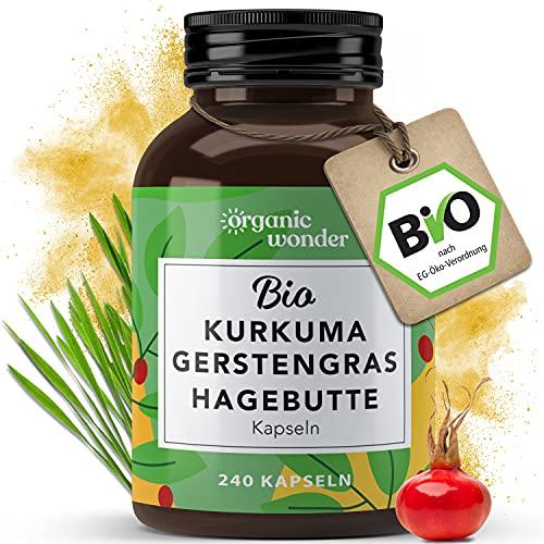 Bio Kurkuma Gerstengras Hagebutte Kapseln (240 x 500 mg) hochdosiert,...