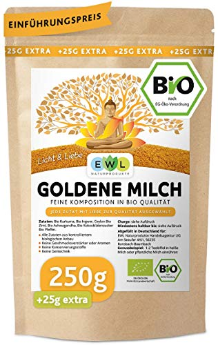 Bio Goldene Milch Golden Milk Kurkuma Latte Mix 250 GR. +25 GR.extra...