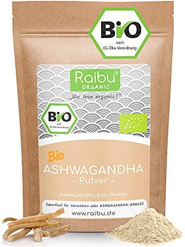 Raibu® Ashwagandha Premium BIO Pulver (250g) | 100% ECHTE Ashwagandha...