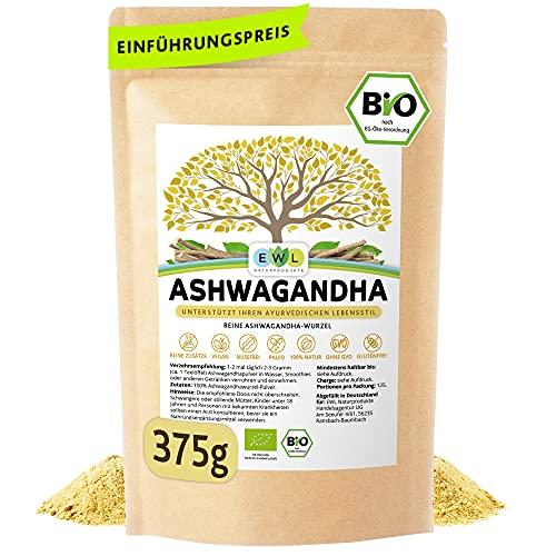 Bio Ashwagandha Pulver 375g Vorratspack aus biologischem Anbau...