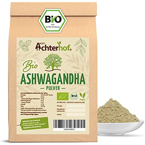 Ashwagandha Pulver BIO (500g) | 100% ECHTE Ashwagandhawurzel gemahlen...