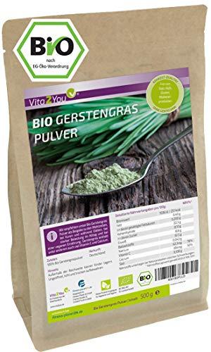 Gerstengras Pulver Bio 500g - Rohkost Qualität - Gerstengraspulver...