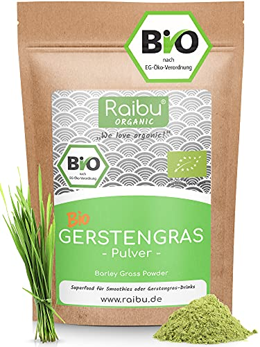 RAIBU® Gerstengras Pulver BIO 500g I Geprüfte BIO-Qualität &...
