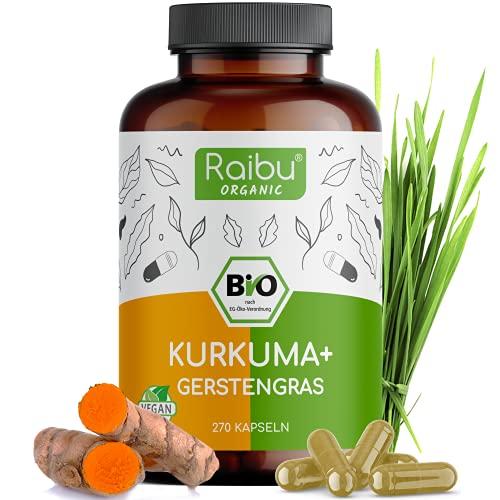 Raibu® Kurkuma Gerstengras Kapseln Bio (270 x 700 mg) Vegan - Curcuma...