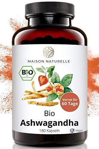 MAISON NATURELLE® Bio Ashwagandha Kapseln (180 Stück, 600mg pro...