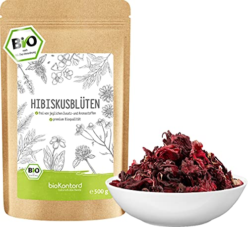 Hibiskusblüten BIO ganz und getrocknet 500g - Premium Hibiskus Tee -...