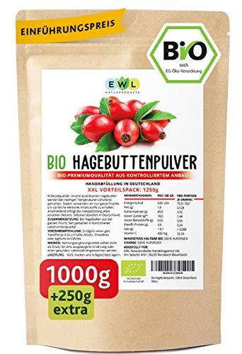 Bio Hagebuttenpulver Bio 1000g + 250g extra XXL Vorteilspack...