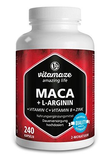 Maca Kapseln hochdosiert 4000 mg + L-Arginin 1800 mg + Vitamine +...