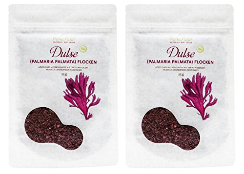 PureRaw Dulse-Flocken 2er-Pack (2 x 25g) Lappentang (bio, roh, vegan)...
